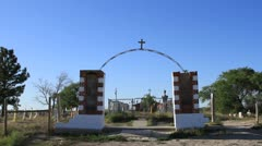Wounded Knee entrance to mass grave on Pine Ridge Reservation Stock Footage
