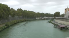 View of the Roman Tiber river in Italy Stock Footage