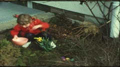 Children searching easter eggs (Vintage 8 mm amateur film) Stock Footage