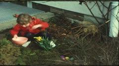 Children searching easter eggs (Vintage 8 mm amateur film) Stock Footage