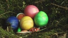 Children searching easter eggs (Vintage 8 mm amateur film) - stock footage