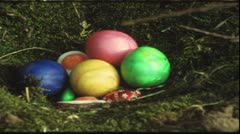 Children searching easter eggs (Vintage 8 mm amateur film) - stock footage