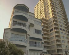 Close up of Gold Coast tower blocks Stock Footage