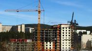 Fast time lapse of tower cranes and construction site Stock Footage