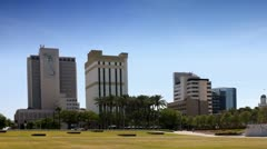 Tampa Florida downtown skyline seen from Curtis Hixon Park Stock Footage
