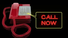 Emergency Red Phone with Call Now text Stock Footage