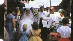 Bride and Groom enter Reception Circa 1960 (Vintage Film 8mm Home Movie) 912 Stock Footage