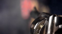 Revolver shoots macro 1 - stock footage