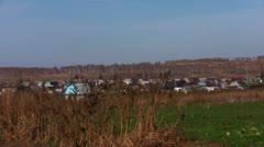 Village landscape in autumn Stock Footage