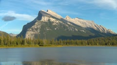 Stock Video Footage of late summer Mt Rundle iconic, medium shot