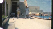 Stock Video Footage of SHUFFLEBOARD Game Florida Vacation Resort Game 1960s Vintage Film Home Movie 916