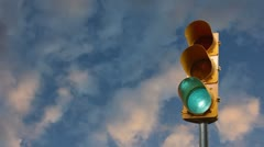 Stop light with sky background Stock Footage