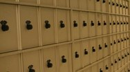 Pan of a row of mail boxes Stock Footage