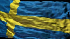 Swedish flag ripple Stock Footage