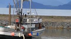 Alaska fishing fleet, boats inside jetty Stock Footage