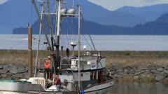 Alaska fishing fleet, readying the boat Stock Footage