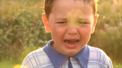 Little boy crying Stock Footage