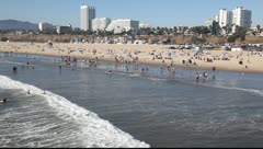 Santa Monica Beach, Los Angeles, California Stock Footage