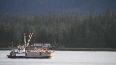 Alaska fishing fleet, boats evening return Stock Footage
