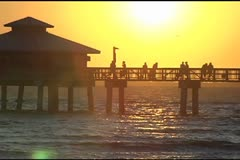 Sunset Fort Myers Beach Stock Footage