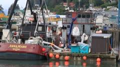 Alaska fishing fleet, boats, cargo net Stock Footage