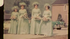 Bridesmaids All in a Row Circa 1965 (Vintage Film 8mm Home Movie) 928 Stock Footage