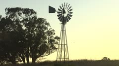 Windmill Wide Shot - stock footage