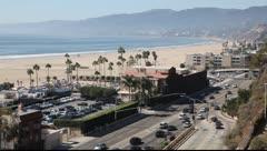 Santa Monica Beach Panorama, Los Angeles, California Stock Footage
