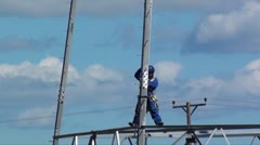 Erecting a new electricy pylon Stock Footage