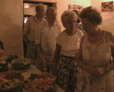 People queuing up for food Stock Footage