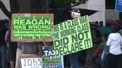 Occupy Wall Street: Class WAR sign - stock footage