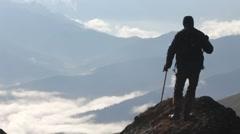 traveler, mountains - stock footage