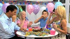 Young Caucasian Children at Family Party Stock Footage