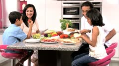 Young Asian Girl Helping Prepare Healthy Lunch Stock Footage
