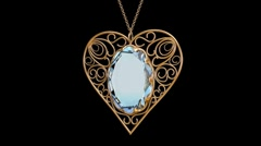 Gold heart with diamonds. - stock footage