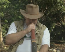 Man playing didgeridoo Stock Footage