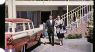 Couple on Vacation Motel Tourism Motel 1960s Vintage Film Home Movie 947 Stock Footage