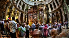 Church of the Holy Sepulchre timelapse: The Rotunda and the Edicule Stock Footage