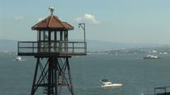 Guard Tower on Alcatraz Stock Footage