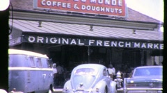 FAMOUS Cafe Du Monde SLAVE MARKET New Orleans 1960s Vintage Film Home Movie 954 Stock Footage