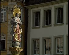 The Holy Cross Cathedral of Schwabisch Gmund. St. Mary's fountain Stock Footage