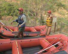 People preparing to go rafting Stock Footage