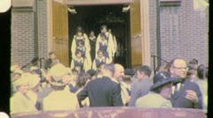 CATHOLIC Girls Leave School Uniforms Church  1950s Vintage Film Home Movie 957 Stock Footage