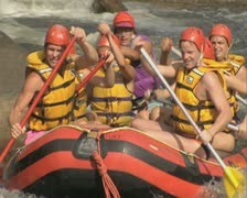 Raft going down river Stock Footage