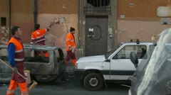 Stock Video Footage of Clean up after the riot in Rome (glidecam)