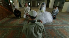 Imam  preaching at Wedding Ceremony Nikah in Mosque Stock Footage