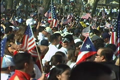 Immigration Rally Crowd cheers, April 10, 2006 Stock Footage