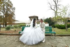 Crimean Tatar newlyweds in Bakhchisaray Palace - stock footage