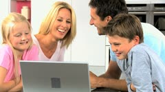 Young Caucasian Family Using Online Video Chat Stock Footage
