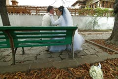 Wedding Couple Dressed in White Stock Footage